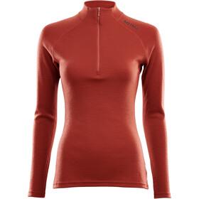 Aclima WarmWool Mock Neck Zip Shirt Dame red ochre
